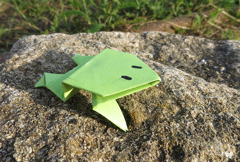 Grenouille en papier origami facile la t l des kids - Faire grenouille en papier ...