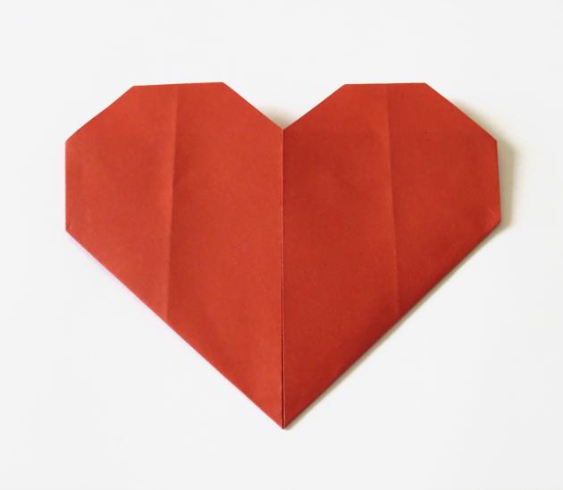 coeur origami papier